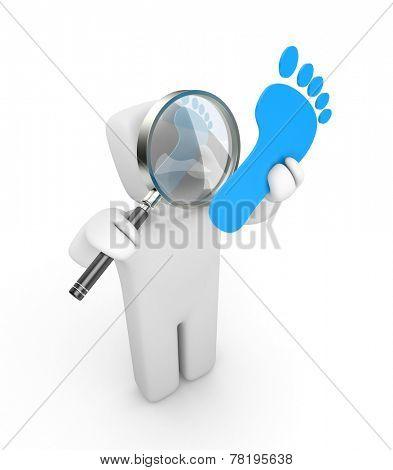 Man explores footprint. Business metaphor