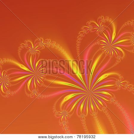 Gold Orange And Pink Abstract Flowers