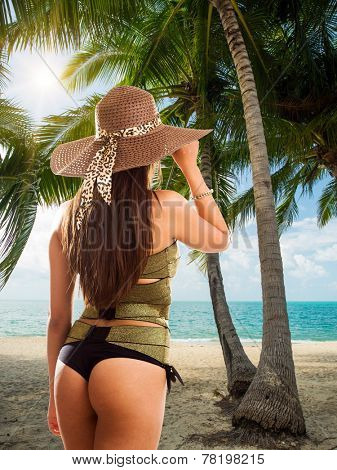 Woman on the Tropical beach  under the coconut tree in Koh Samui island in Thailand