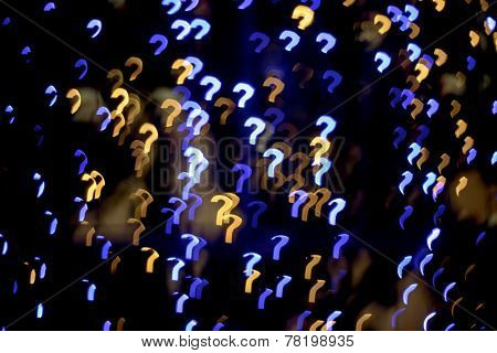 Multicolour Bokeh Question Mark  Shape