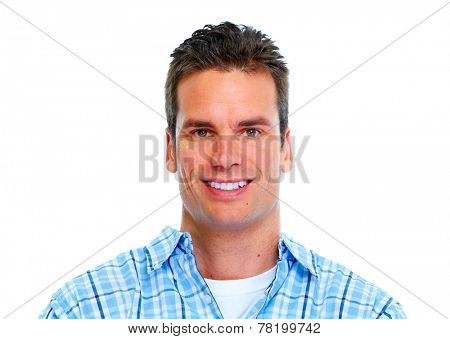 Happy young  man portrait isolated white background
