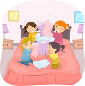 picture of slumber party  - Illustration of Girls in a Slumber Party Having a Pillow Fight - JPG