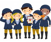 stock photo of won  - Illustration of Kids in Equestrian Uniforms Showing the Medal They Won - JPG