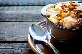 foto of ouzo  - International dish mousaka with baked potatoesselective focus - JPG