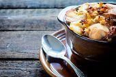 foto of ouzo  - International dish mousaka with baked potatoesselective focus - JPG