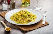 image of leek  - Tagliatelle with chicken curry leek and garlic home made bio garlic fresh vegetable and Italian white wine - JPG
