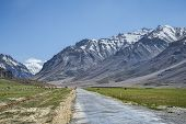 foto of manali-leh road  - Mountain Road Among Snow Himalayan Peaks in India - JPG