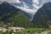 picture of ravines  - Ravine With Green Forest And Fields in Himalaya - JPG