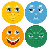 image of positive negative  - Cartoon face set with positive and negative emotion - JPG