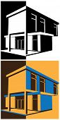 stock photo of interpreter  - vector illustration of a stylized modern block house in two color interpretations - JPG