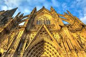 image of dom  - Facade of the Dom church in the city Cologne lit by evening sun - JPG