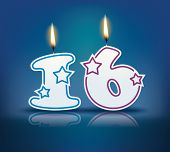 pic of candle flame  - Birthday candle number 16 with flame  - JPG