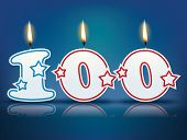 foto of candle flame  - Birthday candle number 100 with flame  - JPG