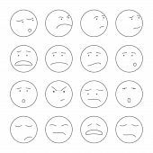 picture of smiley face  - large set of vector icons smiley faces on white background - JPG