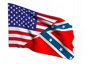 pic of confederation  - 3d rendering of an united states and confederate flags - JPG