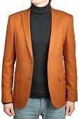 foto of ginger man  - Jacket suit for men color clay isolated image on a white background - JPG