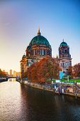 stock photo of dom  - Berliner Dom cathedral in Berlin Germany at sunrise - JPG