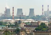 foto of electric station  - Extreme industry area in Moscow district Kapotnya - JPG