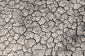 Постер, плакат: Dry Cracked Ground Grayscale Sepia Toned Photo