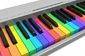 picture of rainbow piano  - Rainbow piano keyboard isolated over white background - JPG