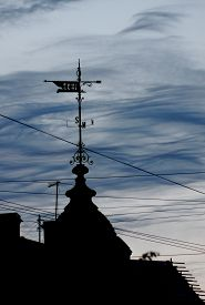 pic of wind vanes  - photo of profile of old Wind Vane on top of Gothic building in the against the evening sky - JPG