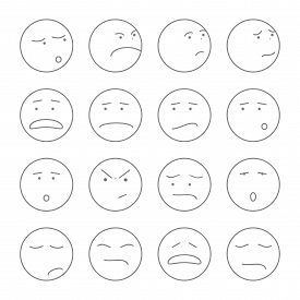 pic of angry smiley  - large set of vector icons smiley faces on white background - JPG