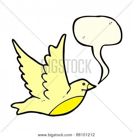 cartoon flying bird with speech bubble