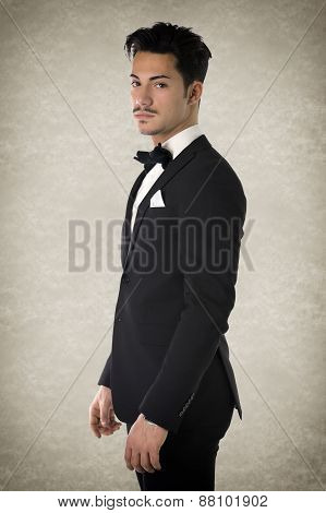 Handsome elegant young man with suit and bow-tie