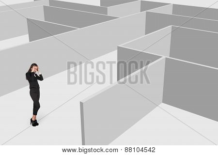 Beautiful businesswonan think against maze