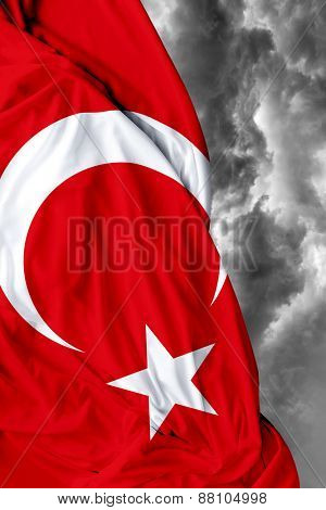 Turkish waving flag on a bad day