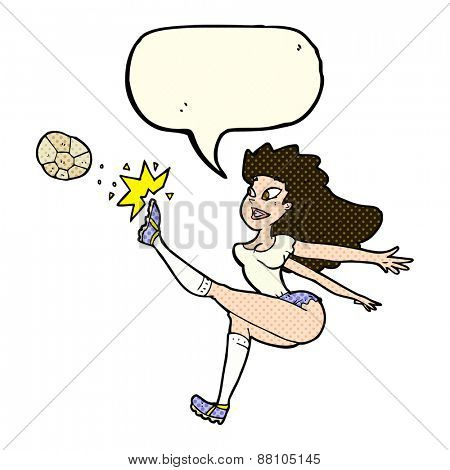 cartoon female soccer player kicking ball with speech bubble