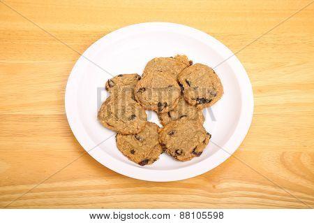 Plate Of Oatmeal Raisin Cookies