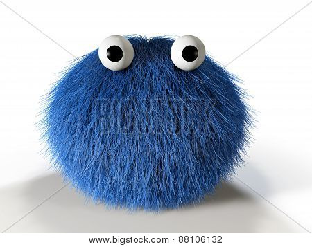 Cute blue furry monster