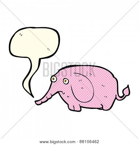 cartoon sad little elephant with speech bubble