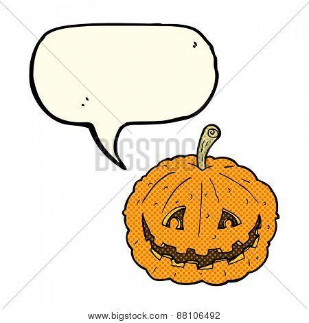 cartoon grinning pumpkin with speech bubble