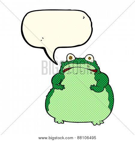 cartoon fat frog with speech bubble