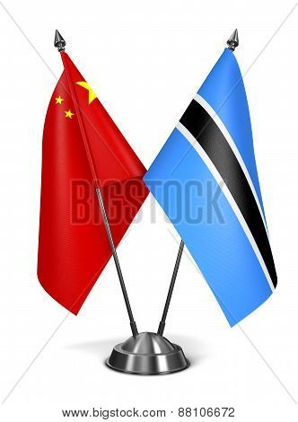China and Botswana - Miniature Flags.