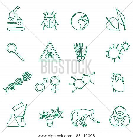 Biology Simple Green Outline Icons Set Eps10