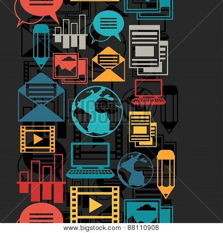 Media and communication seamless pattern with blog icons