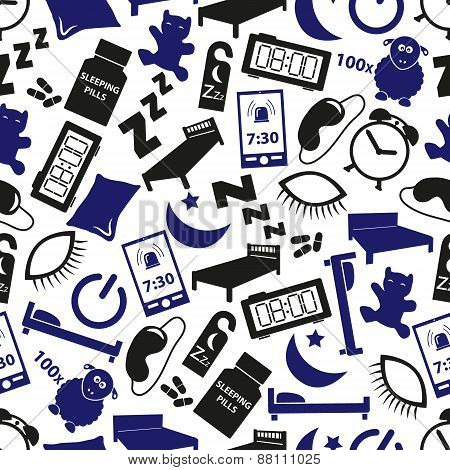 Sleeping Time Blue Icons Seamless Pattern Eps10