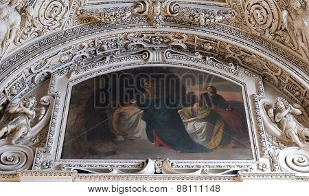 SALZBURG, AUSTRIA - DECEMBER 13: 14th Stations of the Cross, Jesus is laid in the tomb and covered in incense, fragment of the dome in Salzburg Cathedral on December 13, 2014 in Salzburg, Austria.