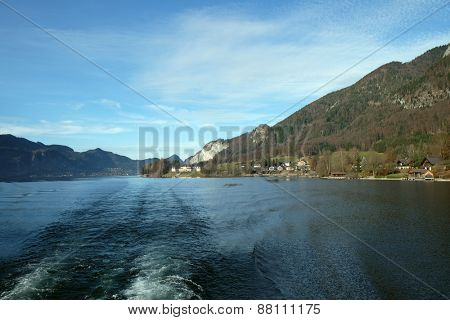 ST. WOLFGANG, AUSTRIA - DECEMBER 14: Lake Wolfgangsee in Austria on December 14, 2014.