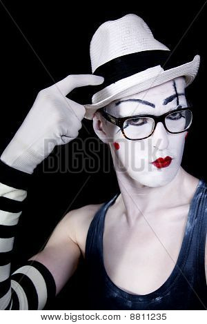 Mime In White Hat Glasses And Gloves