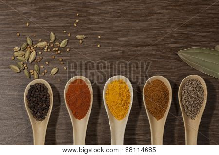 Various spices in ceramic spoon on wooden backgound
