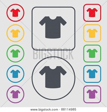 T-shirt, Clothes Icon Sign. Symbol On The Round And Square Buttons With Frame. Vector