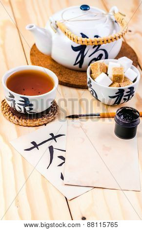 blank card in the environment of tea accessories