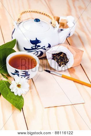 blank card in the environment of asian tea accessories