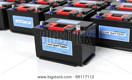 Car batteries, isolated on white background