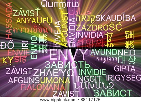 Background concept wordcloud multilanguage international many language illustration of envy glowing light