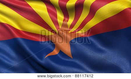 US state flag of Arizona waving in the wind